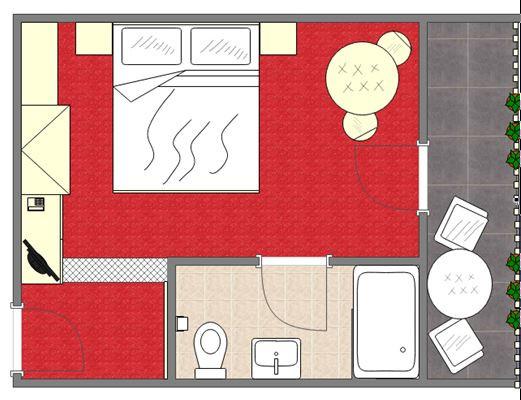 Grundriss Doppelzimmer Standart Haupthaus