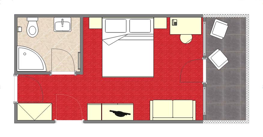 Grundriss Doppelzimmer im Ferienschlössl