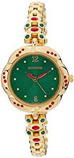 Sonata Analog Green Dial women's Wat