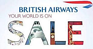 British Airways flights sale for flights upto 50% off in all over world