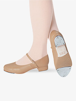 Tan Girls Tap-On Leather Tap Shoes