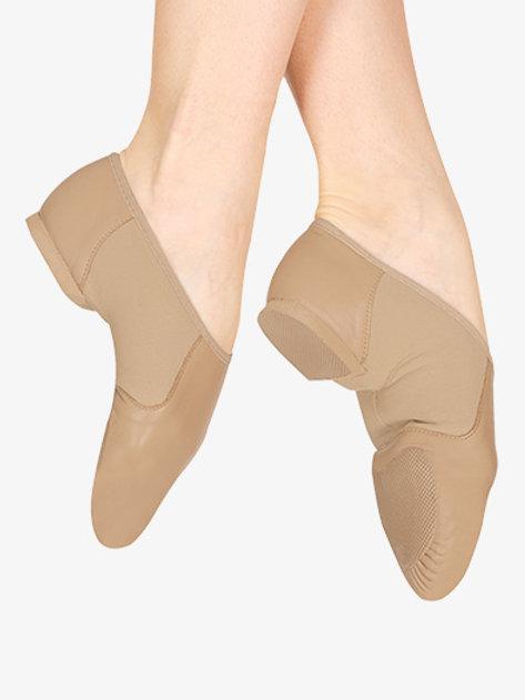 Tan BLOCH Neo-Flex Slip On Leather Jazz Shoes