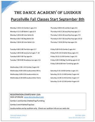 Purcellville Fall Classes Start Septembe