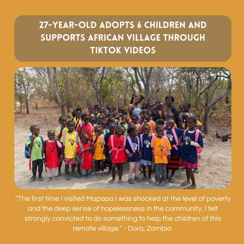 27-year-old adopts 6 children and supports African village through TikTok videos