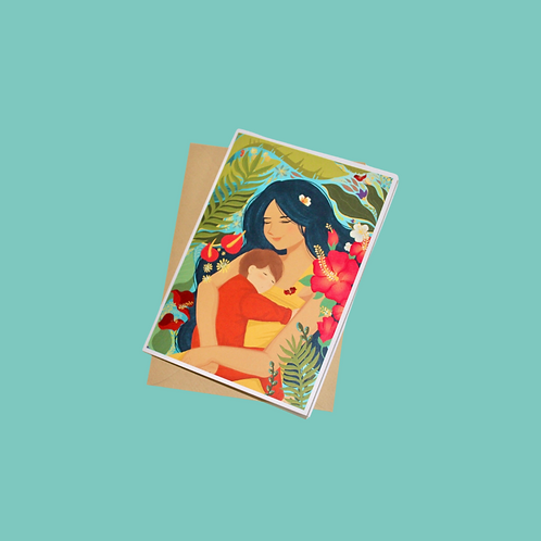 Tropical Mom & Baby (Single Card)