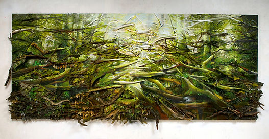 """""""Weald"""", 2017, Oil and Mixed Media, 66 x 148 x 10 inches"""