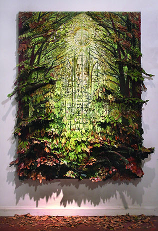 Forest Window, 2015, Oil and Mixed Media on Canvas Board, 60 x 44 x 6 inches