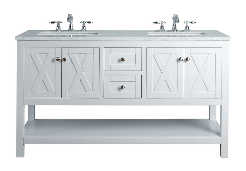 """Anabelle 60"""" White Double Sink Vanity"""