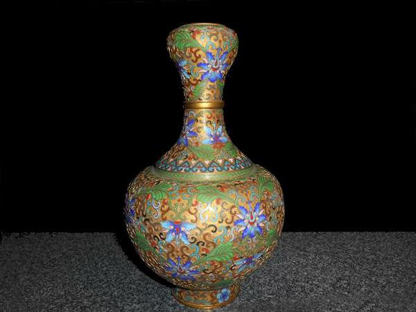 七宝焼きの花瓶 銅製