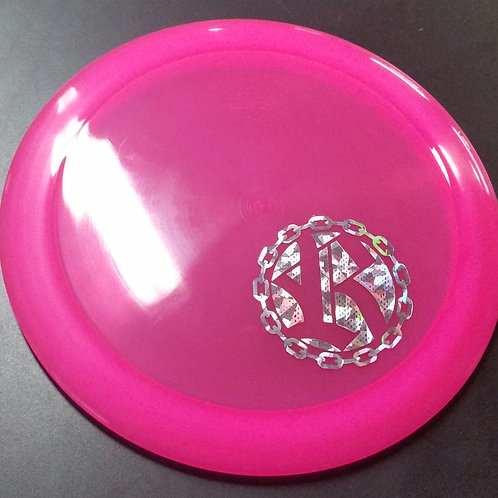 Latitude 64 Opto Gladiator featuring a Riverside Disc Golf Chains stamp