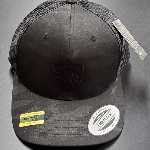Snap Back Riverside Basket Hat in black camo