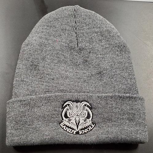 Skeet Scienski Sandy Knoll Owl grey winter beanie with black lining