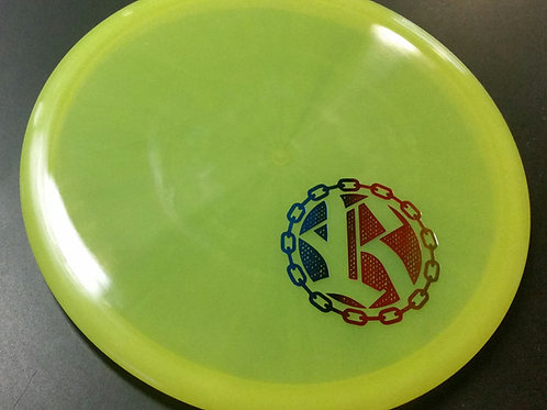Latitude 64 Opto Compass featuring a Riverside Disc Golf Chains stamp
