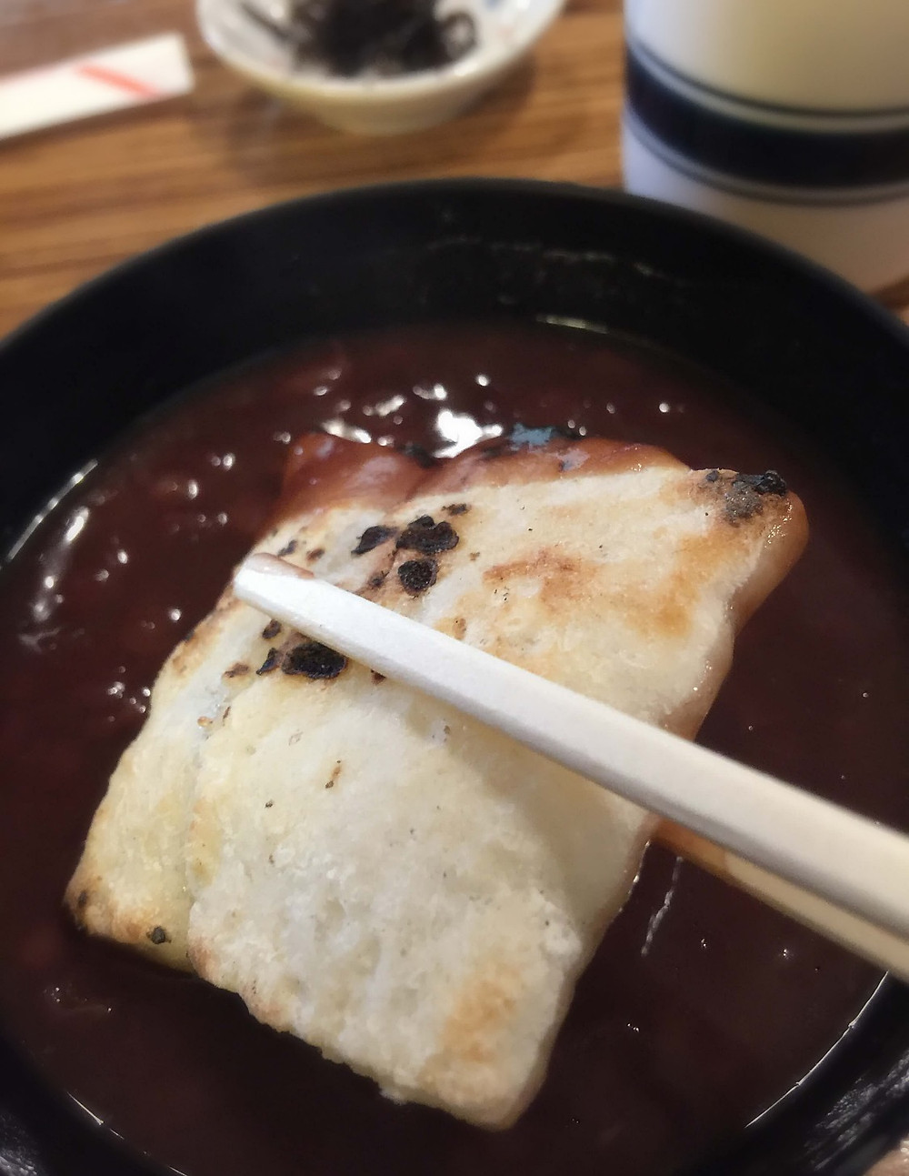 Deiribashi Kintsubaya's grilled mochi in zenzai