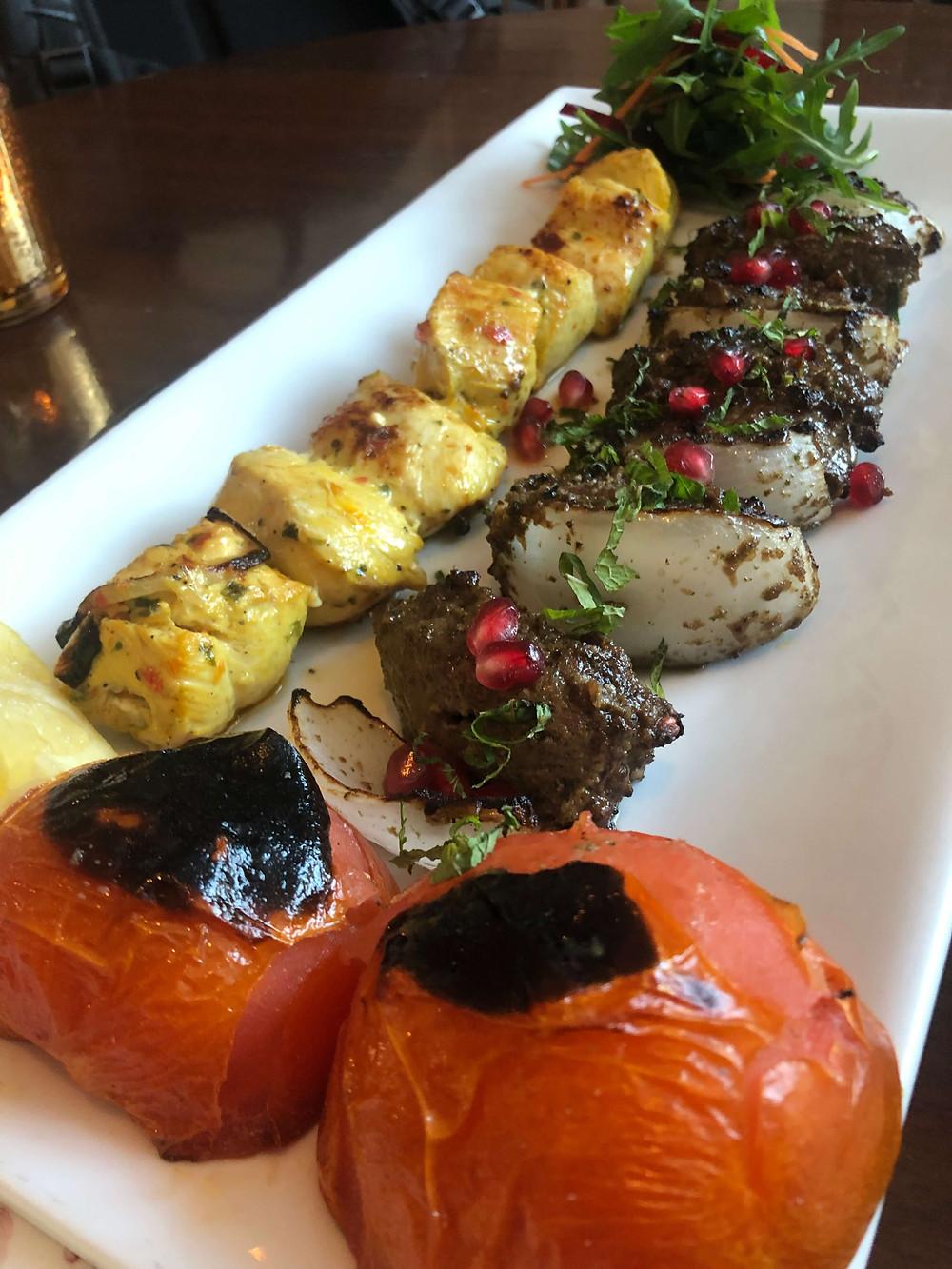Joojeh and kebab torsh at Kateh Restaurant in Little Venice