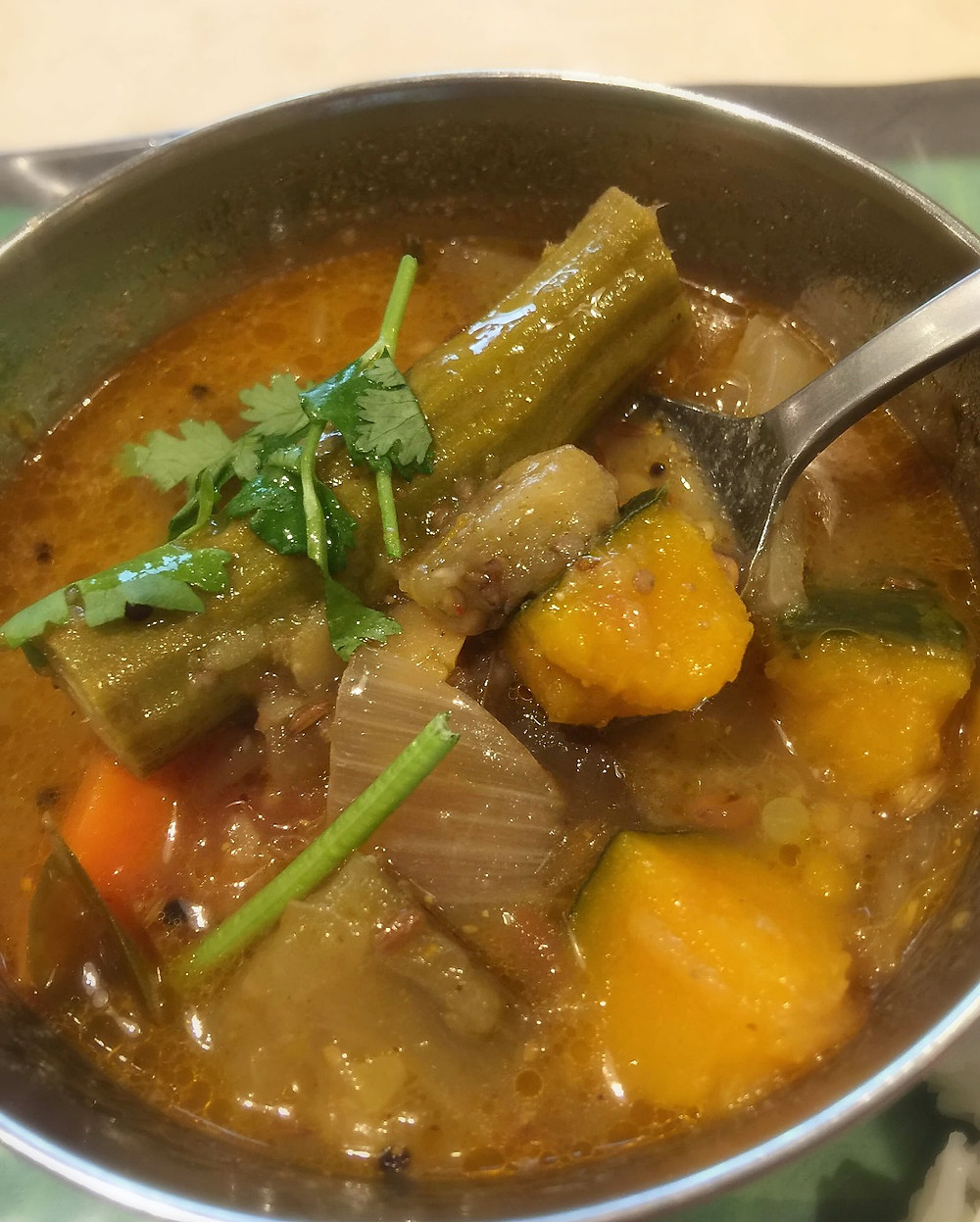 Fennel-scented sambar with drumstick and pumpkin, eggplant, carrots