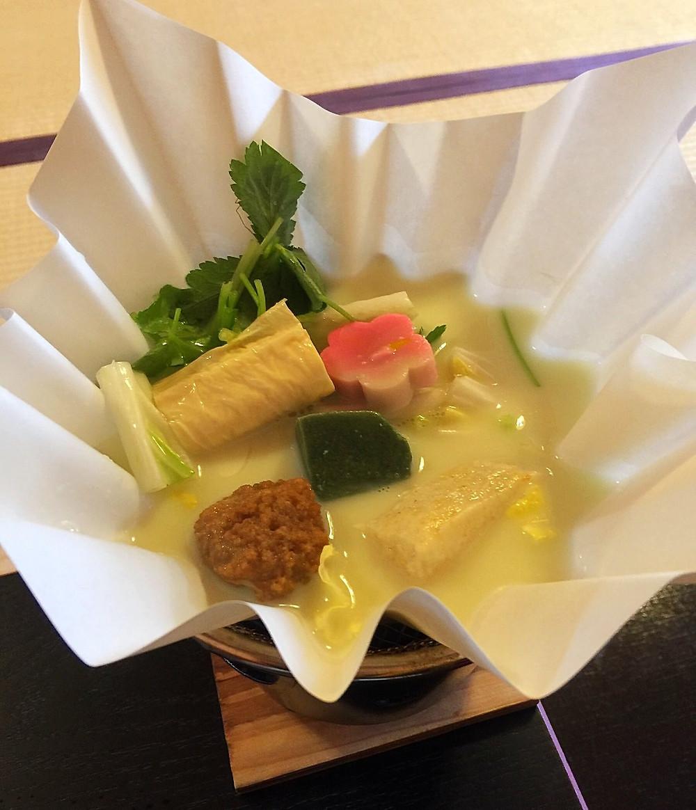 Soy milk hot pot @ Tenryuji's Shigetsu
