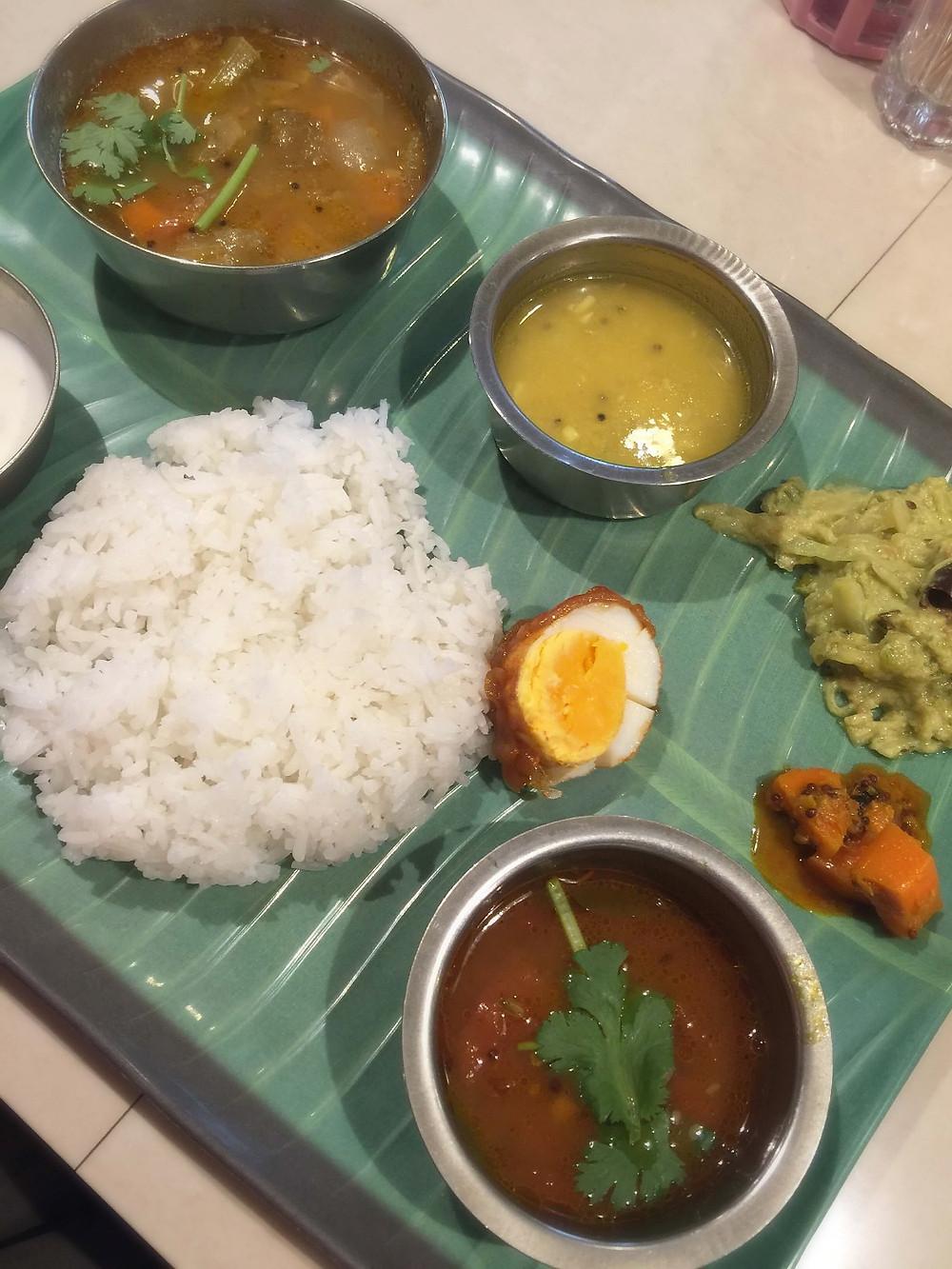 The Vegetarian Meals at Chowk - with Malaysian sambar egg