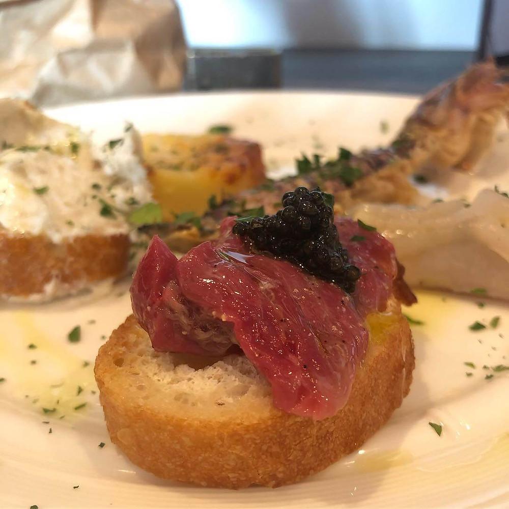 Horse meat carpaccio at Osteria Bricola