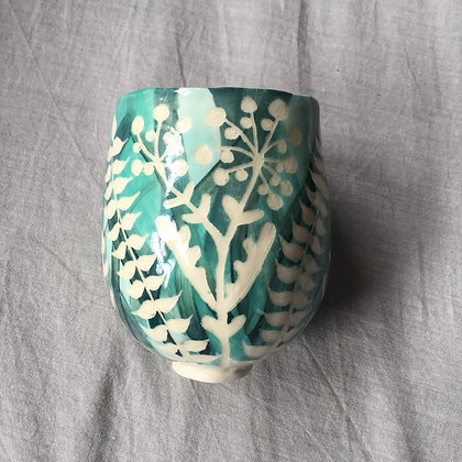 Leafy Cup with Firework Flowers