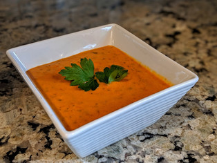 Roasted Poblano Tomato Basil Soup