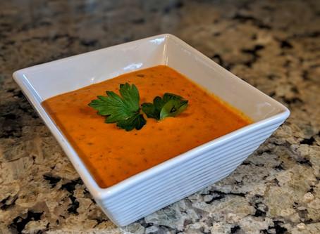 Roasted Poblano Tomato Basil Soup