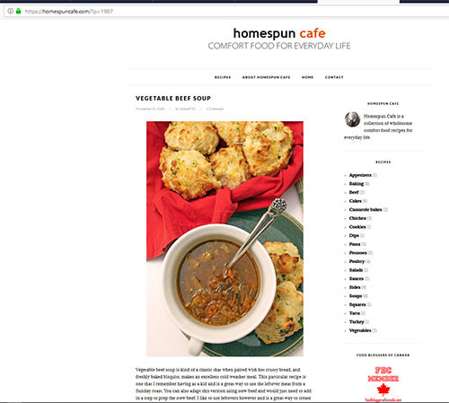 Homespuncafe main recipe page  Copywriter, recipe development, wordpress set up, and photography.