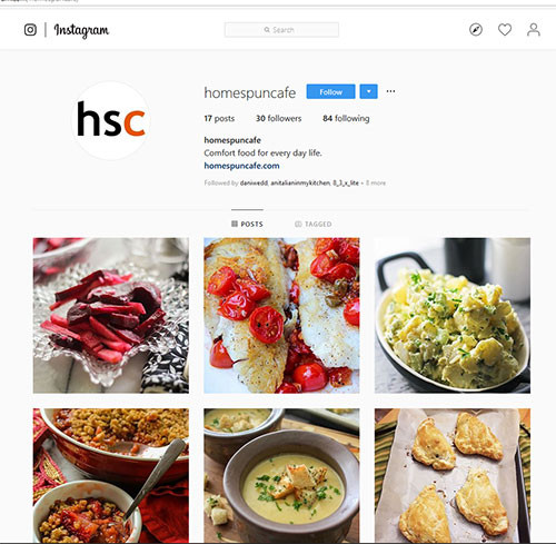 homespuncafe instagram page  Business Instagram page for food blog. Social media strategy to grow instagram users to monetize blog. Copywriting and photography.