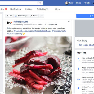 Business Facebook page for homespuncafe. Copywriting and photography.