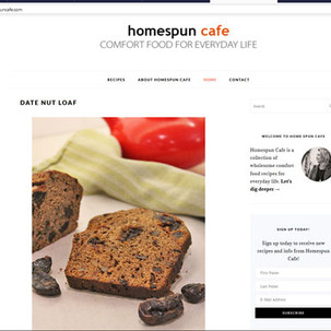 Homespuncafe Food Blog  Content developer,  photographer and recipe developer of www.homespuncafe.com since 2012. Member of the Food Bloggers of Canada Association.