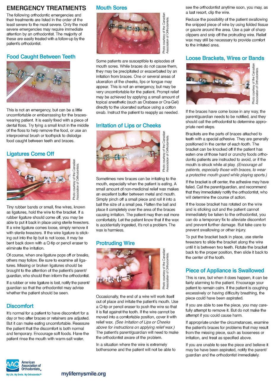 Common braces problems