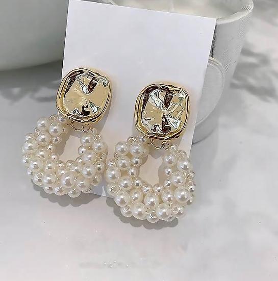 Hammered Stud Faux Pearl Earrings