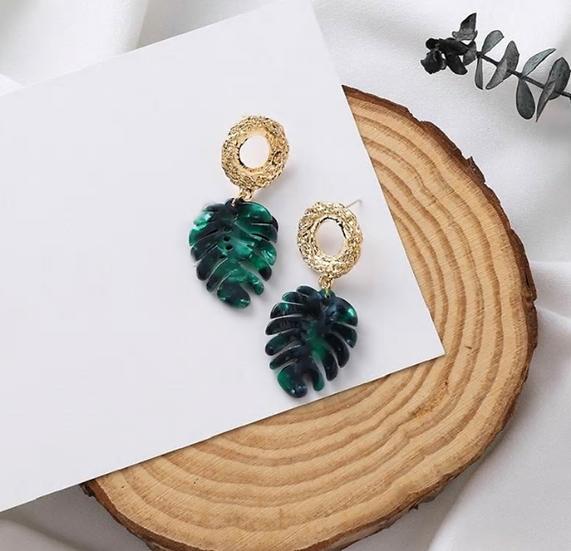 Gold Leaf Fashion Earrings