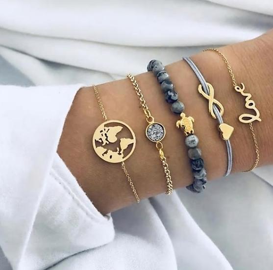 World Love Layered Bracelets