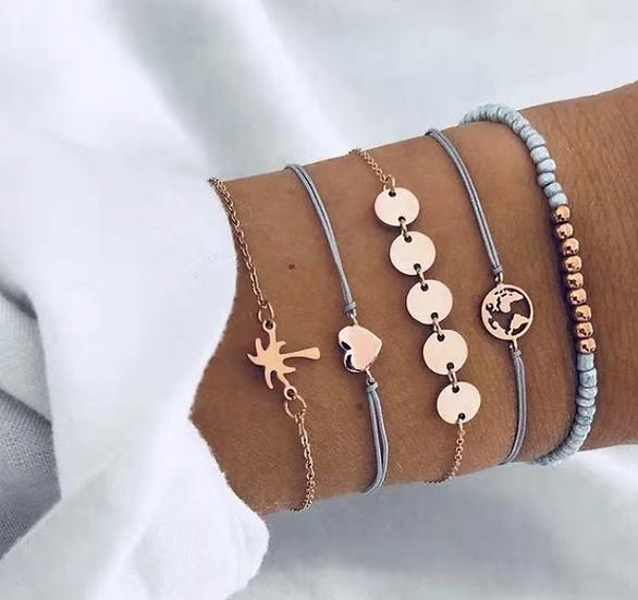 Palm Tree Layered Bracelets