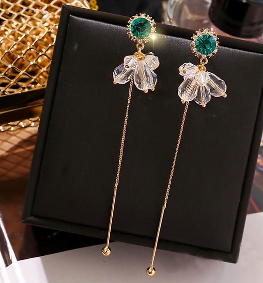Green Sparkle Drop Earrings