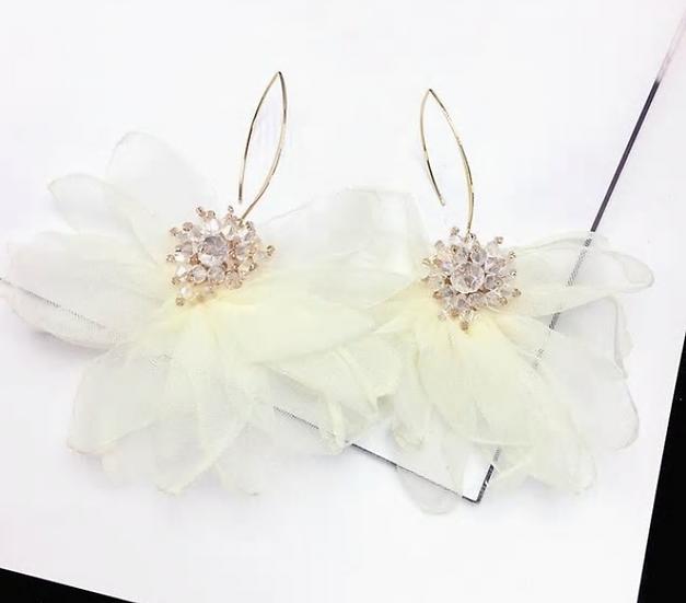 White Flower Petal Earrings