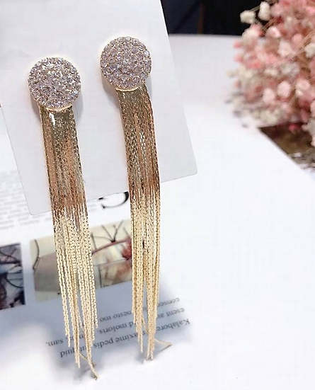 Sparkle Stud Earrings with Gold Tassels