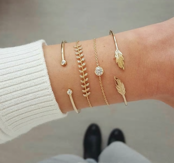 Gold Leaf Bracelet Set