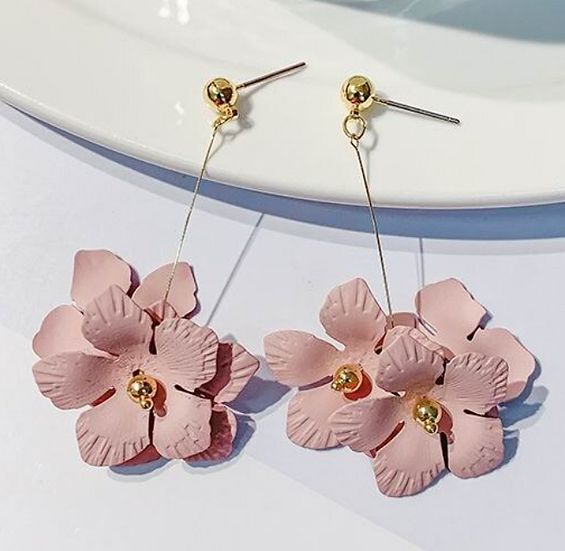 Pink Drop Petal Earrings