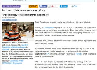 The Newspaper article today on our president René Corado El  reportaje en el periodico de hoy de nue