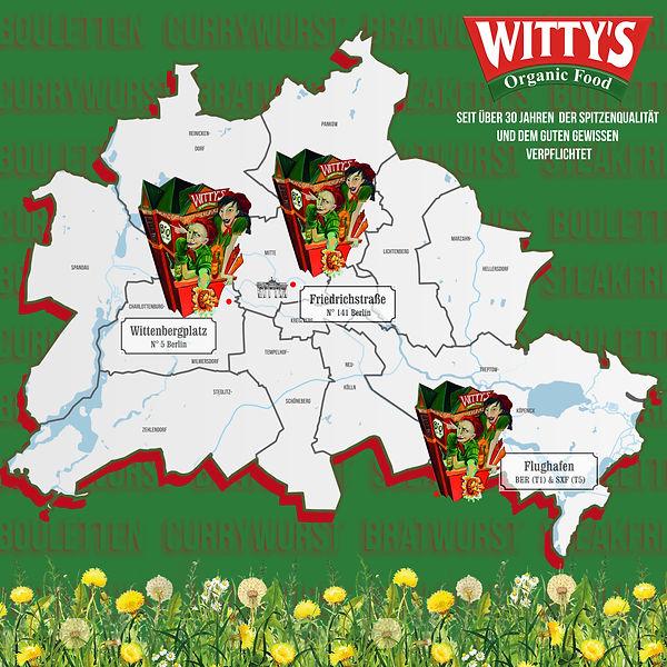 WITTY'S Organic Food Standorte Karte Berlin Map Standorte Kunst