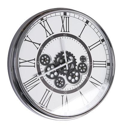 Horloge gear 54 cm chromée fond blanc