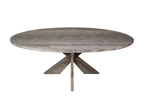 Table  Ovale teck blanchi