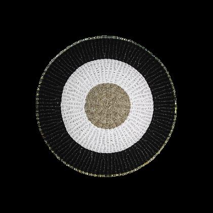 Tapis raffia/jonc de mer/blanc 120cm
