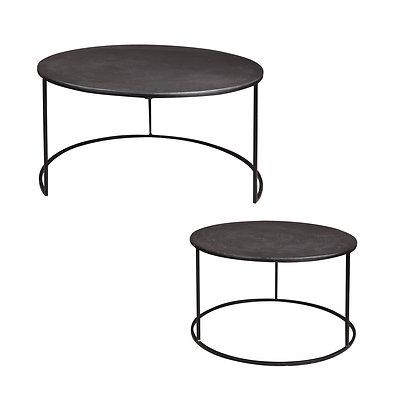 Set de 2 tables en métal noir diamètres 61 et 76 cm