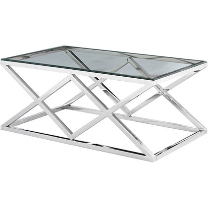 Table basse verre fumé et chrome