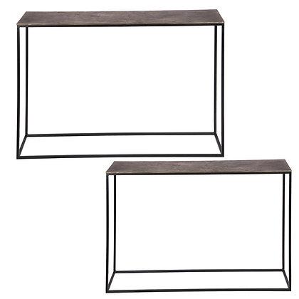 Consoles métal doré hauteurs 70(A) et 77(B) cm