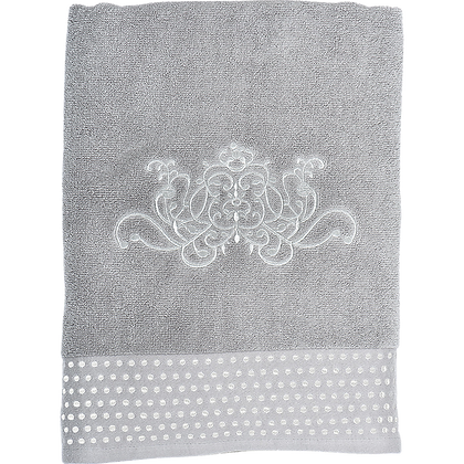 "Serviette bain ""Douce arabesque"" grise"
