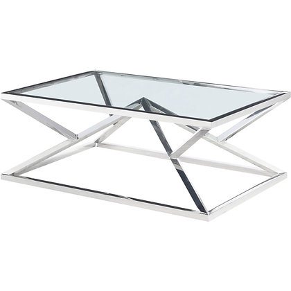 Table basse verre et chrome